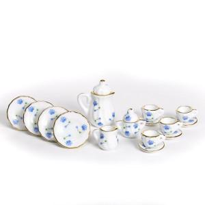 Coffee service,porcelain, blue, 15 pcs コーヒーサービス15点セット(青い花の装飾)