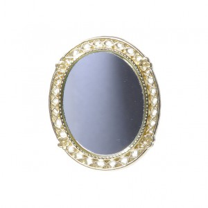 Oval mirror with gilt frame 金箔フレームの鏡