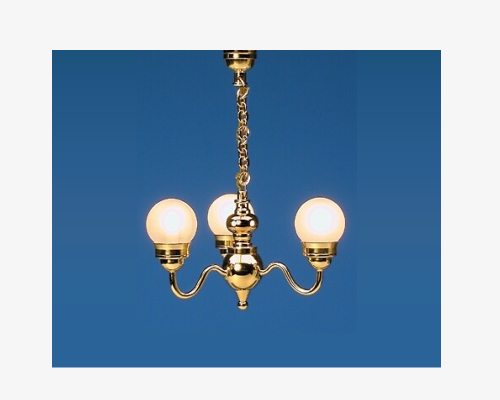 3-light chandelier with globes 3光の球状シャンデリア