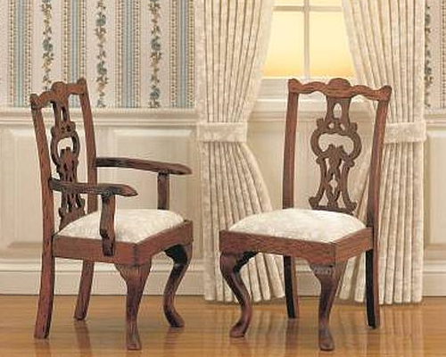 Chippendale upholstered chairs, 2 piece チッペンデール ひじ掛け椅子(2)