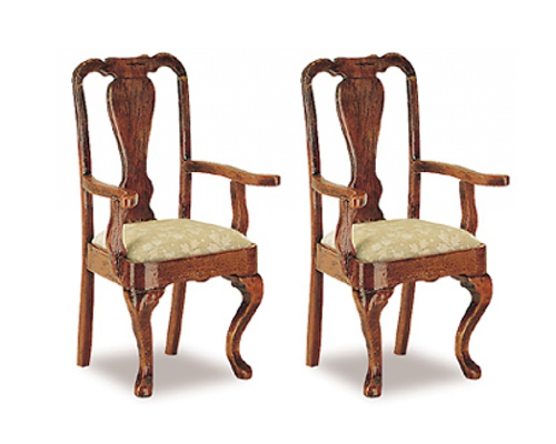 Queen Anne carver chairs (2) クイーン・アン カバーチェアー2脚セット