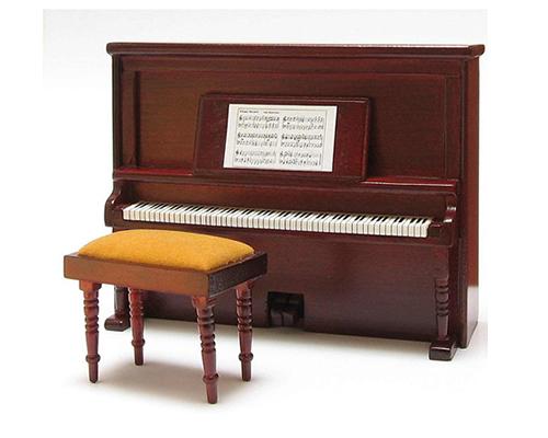 Piano with padded stool, mahogany スツール& ピアノ・マホガニー(完成品)
