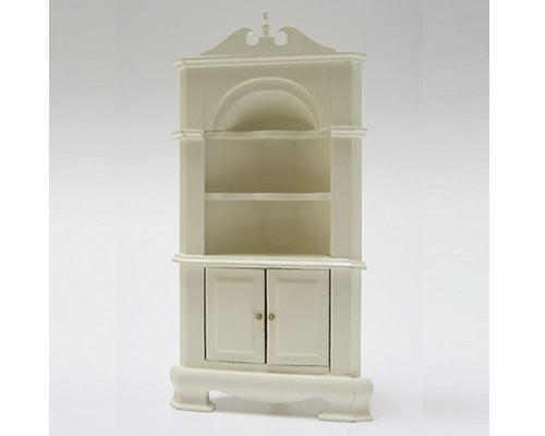 Corner cabinet antique white コーナーキャビネット・アンティークホワイト(完成品)