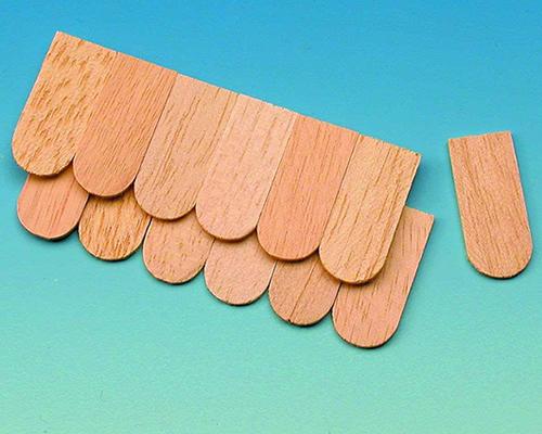 Wooden fishscale shingles, 100pcs 木製の屋根パーツ(100pcs)