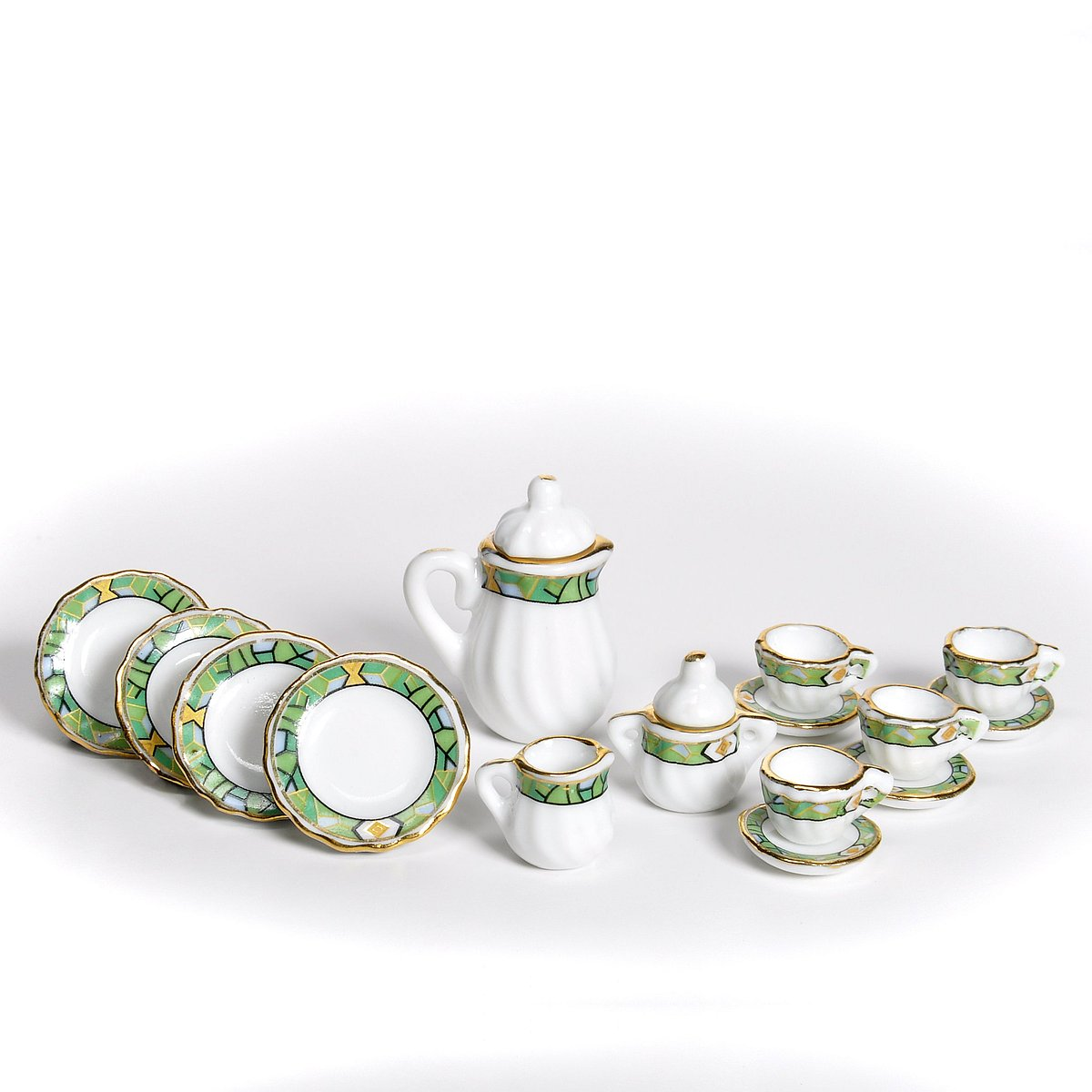 Coffee service,porcelain,  green, 15 pcs コーヒーサービス 15枚セット(グリーン)