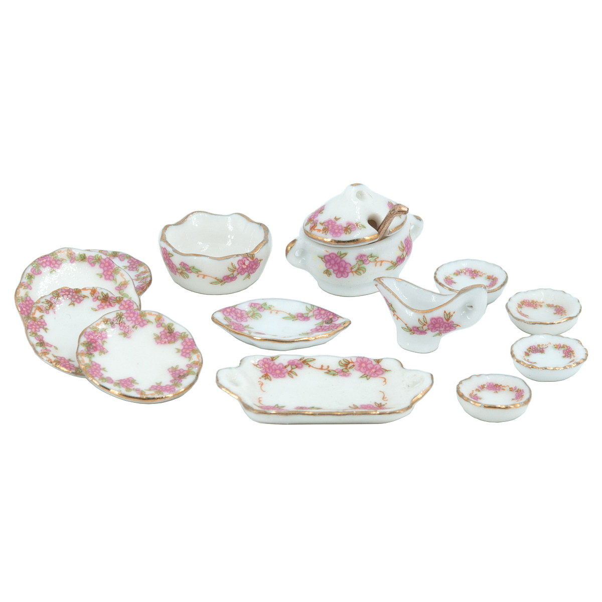 Dinner service, porcelain, floral, 13 pcs ディナーサービス 13枚セット