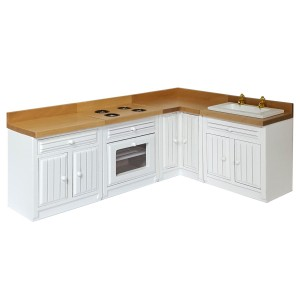 Kitchen, white, 4 parts 完成品・簡易キッチン4点セット(白塗装)