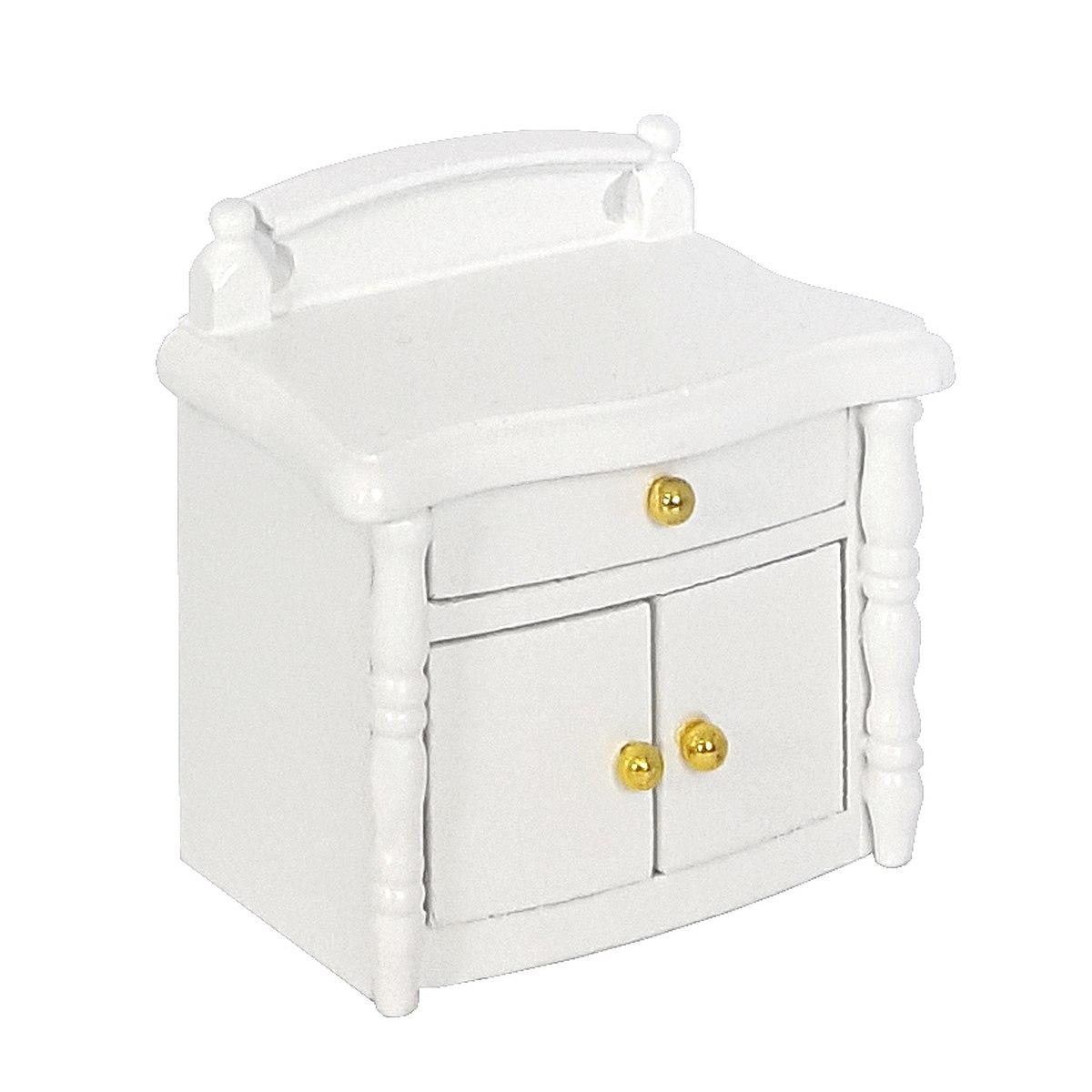 Bedside cabinet, white 完成品・ベッドサイドテーブル