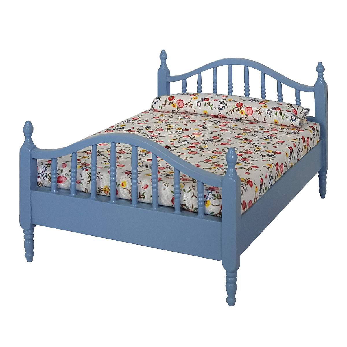 Double bed, blue, with floral duvet cover 完成品・ダブルベッド ブルー