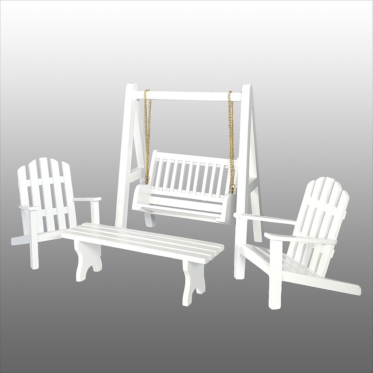 Strand deck chair, white 完成品・ガーデン家具(アームチェア2脚、テーブル、ポーチスイング)
