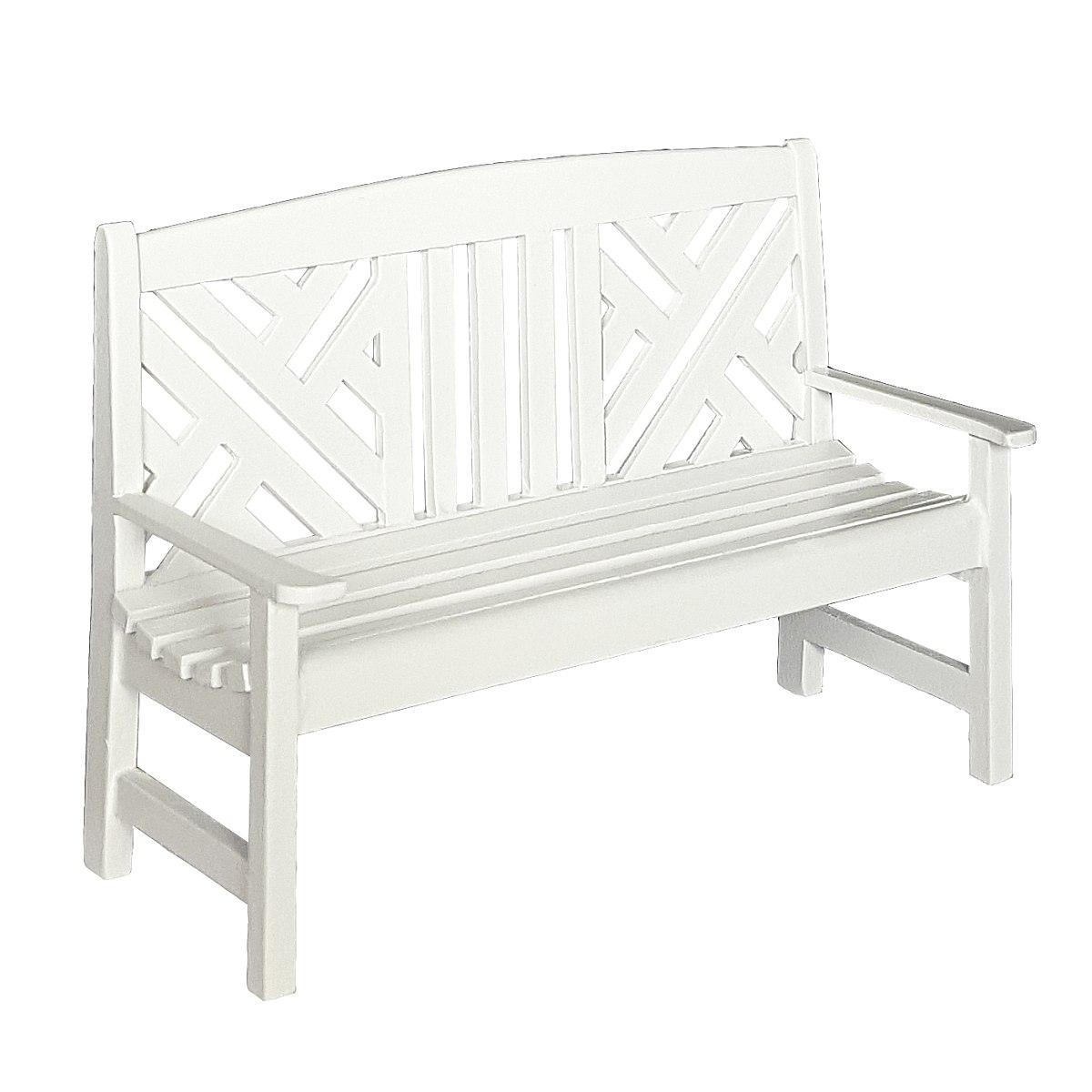 Garden bench, white 完成品・ガーデンベンチ