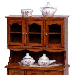 Porcelain Set, Rose decor, 4 pcs バラ柄の磁器 4個セット