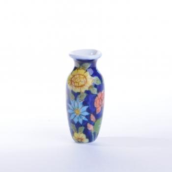 Large vase, floral design 花瓶、花柄(大)・青